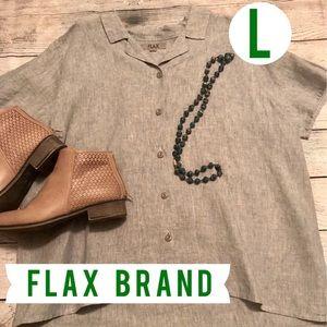 Flax Button Blouse Hi-low Cut Green Blue Color